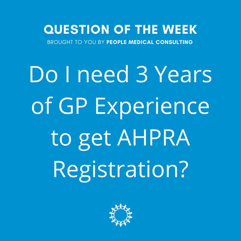 GP Experience AHPRA